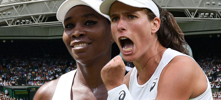 Jo Konta takes on five-time Wimbledon champion Venus Williams today