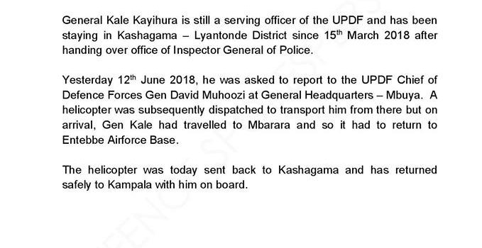 UPDF Clarifies on the whereabouts of General Kayihura
