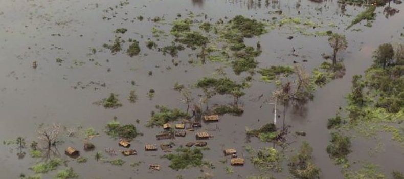 Huge area of Mozambique submerged by water.