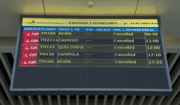 Mozambique cancels domestic flights as storm nears.