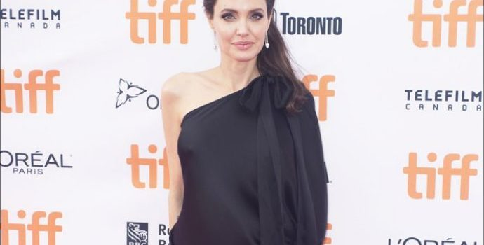 Angelina Jolie Stuns in Black Dress While Posing With Her Six Children at TIFF