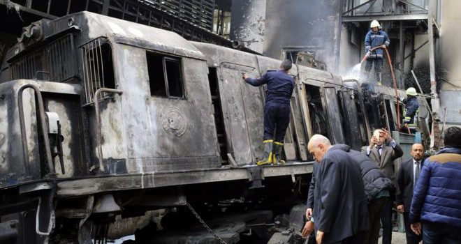 Egypt Train crash causes deadly blaze.