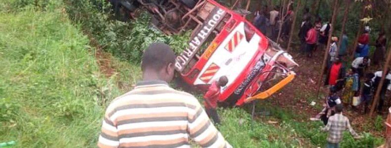 Speeding Swift Safaris bus overturns in Sheema.