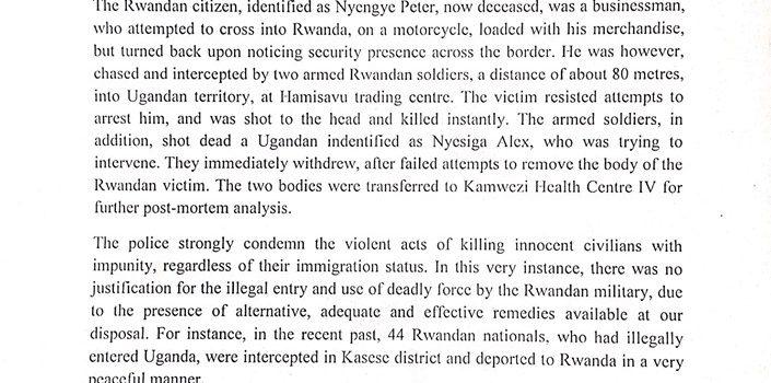 Ugandan and Rwandan nationals shot dead by Rwandan soldiers at Uganda-Rwanda border.