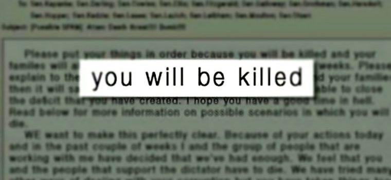 Uganda Radio Network journalist receives death threats.