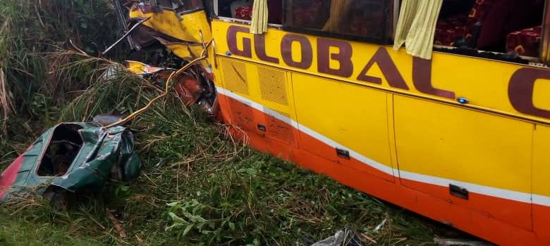 Global Coaches Bus and a Tipper Isuzu involved in an accident in Mpigi District.