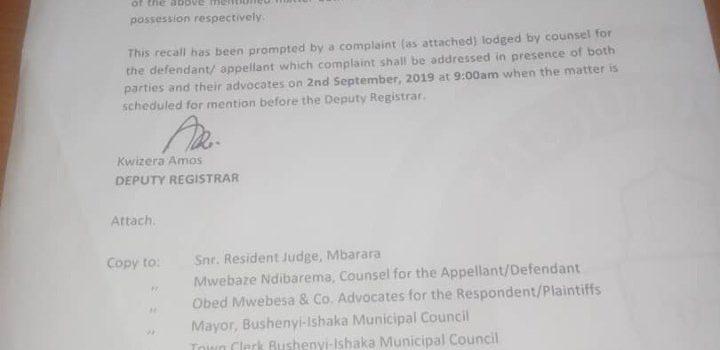 Court Order: Auctioning of Kabagarame pork market land recalled.