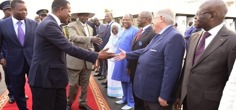 President Museveni meets Amama Mbabazi in Togo.