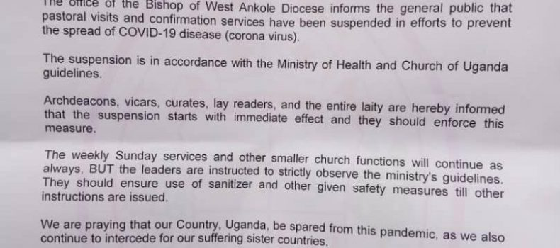 West Ankole Diocese Suspends Pastoral Visits over Coronavirus