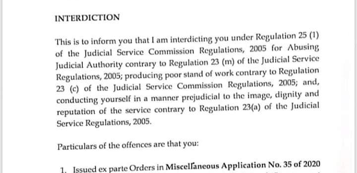 Masaka High Court registrar interdicted