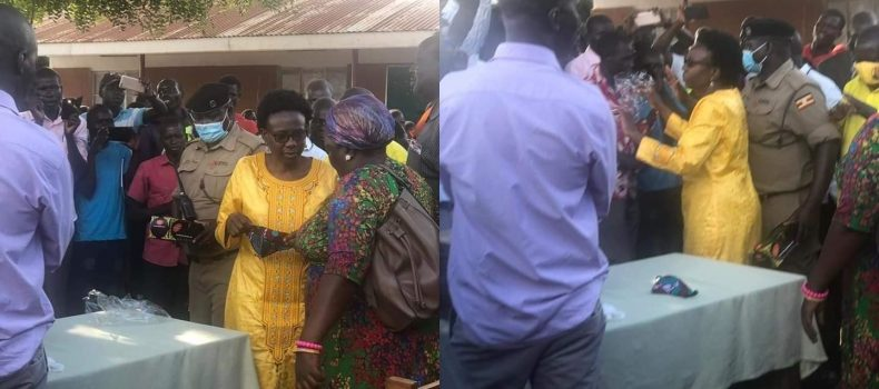 Politics: Health Minister Jane Ruth Aceng removes face mask