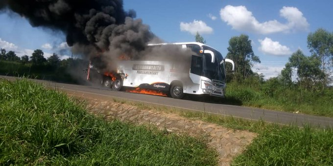 25 COVID-19 patients Survive Death After Parliament Bus They were Travelling in Caught Fire