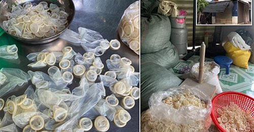Used condoms being washed and resold. Over 300,000 seized in Vietnam