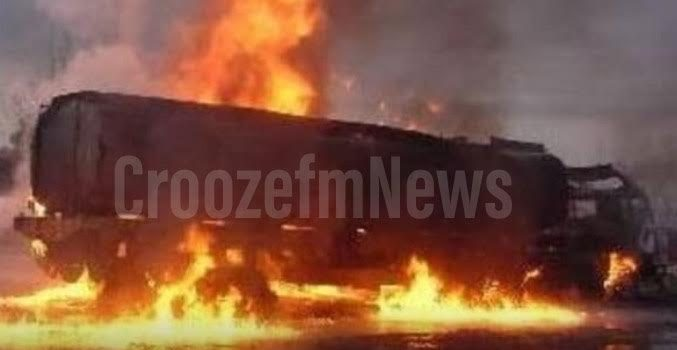 Fuel tanker catches fire in Bushenyi leaving one dead and motorcycles burnt
